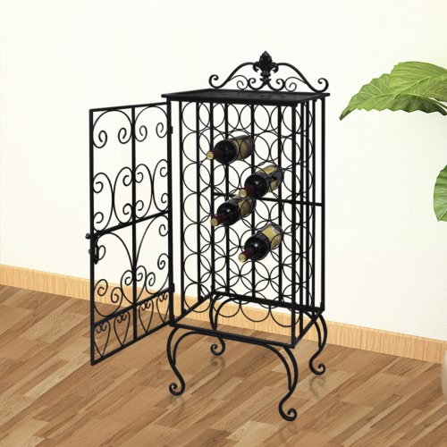 Metal Wine Cabinet Rack Wine Stand for 28 Bottles