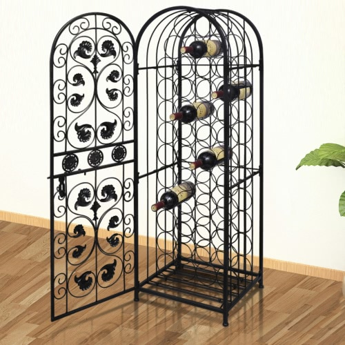 Metal Wine Cabinet Rack Wine Stand for 45 Bottles