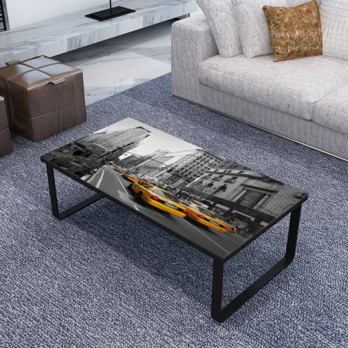 Rectangular Coffee Table Side Table Sofa Table Print on Glass