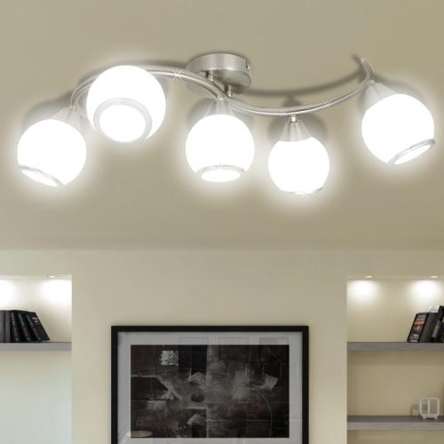 Потолочные светильники Стеклянные Оттенки на Размахивая Rail для 5 E14 Лампа накаливания