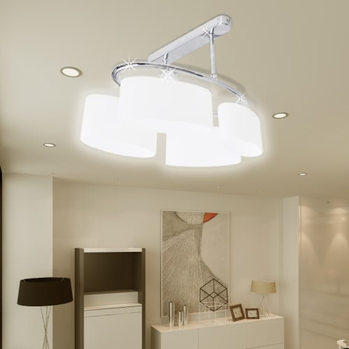 Ceiling Lamp with Ellipsoid Glass Shades for 4 E14 Bulbs