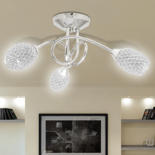 Ceiling Lamp with White Acrylic Crystal Shades for 3 G9 Bulb