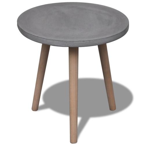 Малый круглый стол с бетоном Top и дуба Ноги