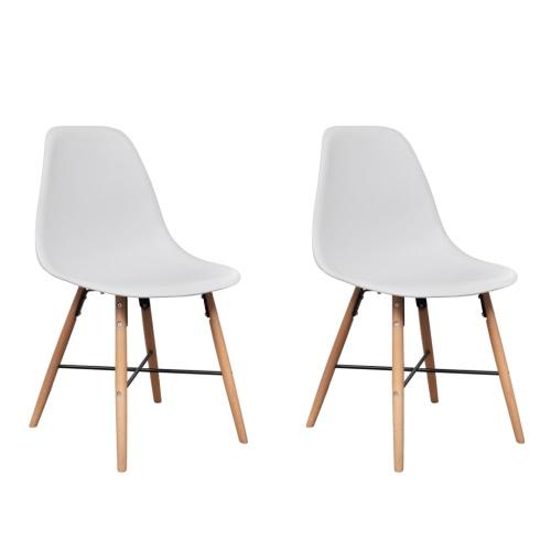 Blanc Armless Dining Chair avec Pieds feuillus 2 pcs