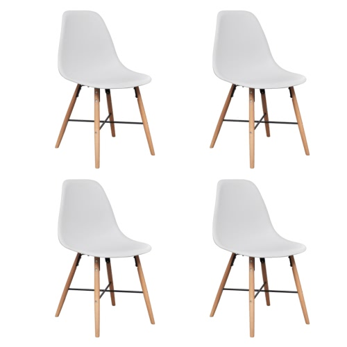 White Armless Dining Chair with Hardwood Legs 4 pcs