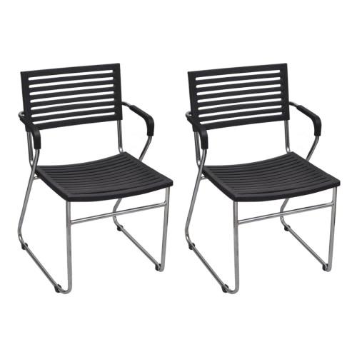 Black Stackable Arm Chair 2 pcs