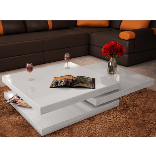 Coffee Table 3 Layers White High Gloss