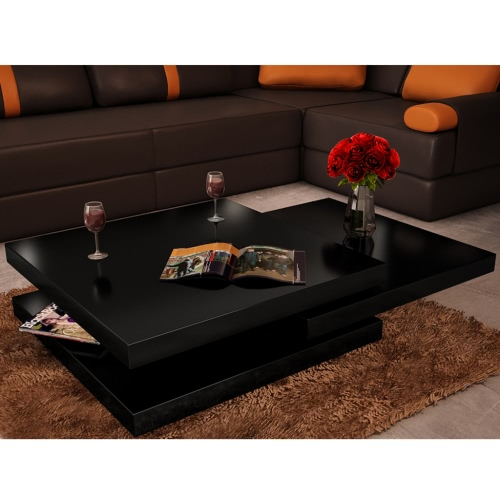 Coffee Table 3 Layers Black High Gloss