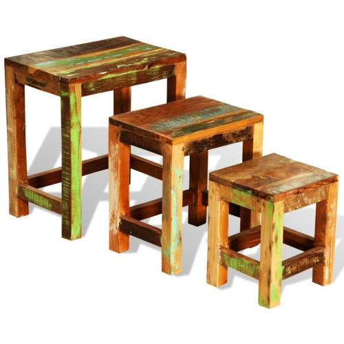 Reclaimed Wood Set of 3 Nesting Tables Vintage Antique-style