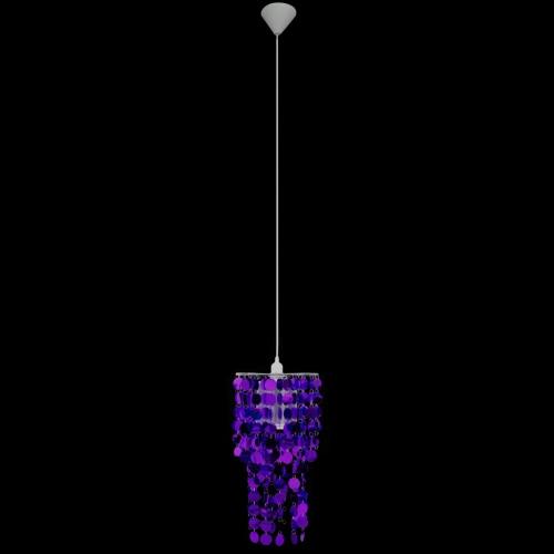 Circle Paillette Pendant Chandelier Lamp 26 x 56 cm Purple
