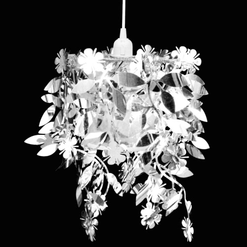 Leaves Paillette Pendant Chandelier Lamp 21,5 x 30 cm Silver