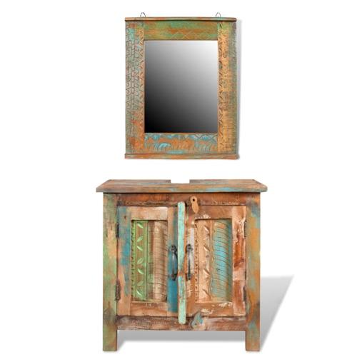 Исправленный Твердой древесины тщеславия ванной Кабинет Набор с зеркалом