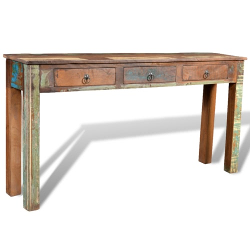 Reclaimed Wood Side Table with 3 Drawers