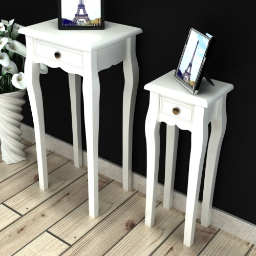 White Telephone Side Table with Drawer 2 Sizes