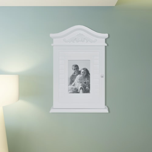 White Key Cabinet with Photo Frame