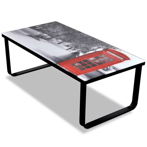 Glass Coffee Table with Telephone Booth Printing