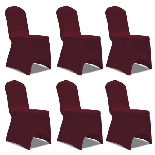 Chair Cover Stretch Burgundy 6 pcs