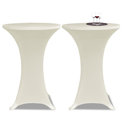 Standing Table Cover Ø70cm Cream Stretch 2 pcs