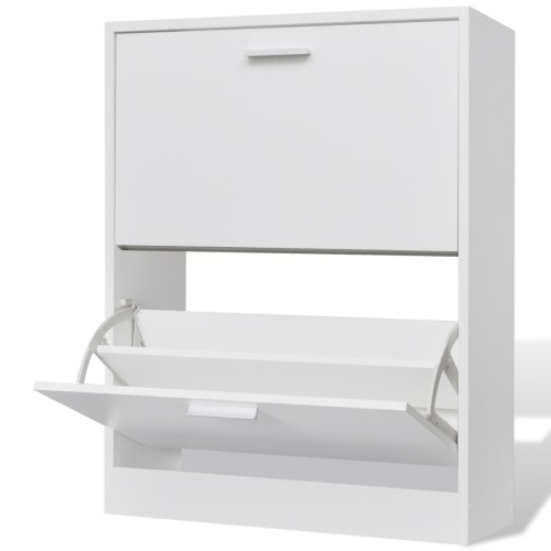 White Wooden Shoe Cabinet with 2 Compartments