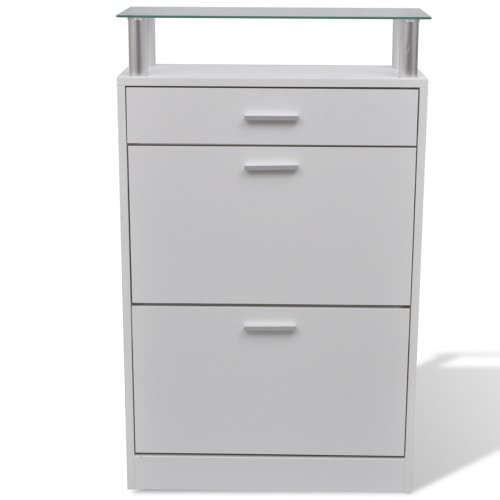White Wooden Shoe Cabinet with a Drawer and a Top Glass Shelf