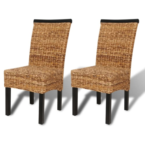 Brown Abaca Handwoven Rattan Side Chair Set 2 pcs