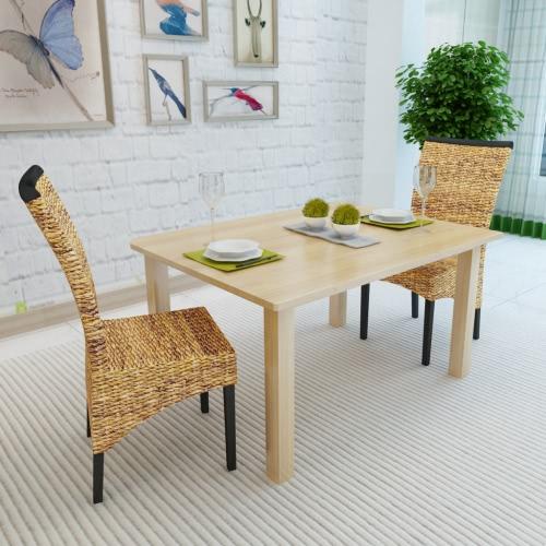 Abaca marrón tejida a mano de la rota Side Chair Set 2 piezas