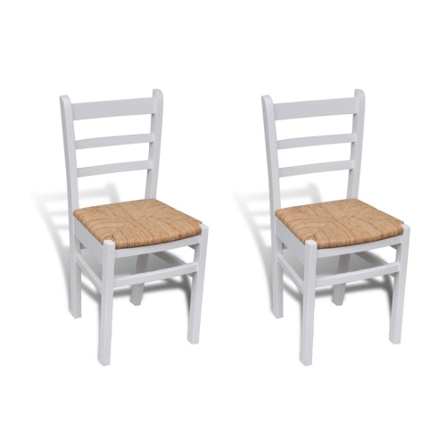 2 pcs White Paint Wooden Dinning Chair