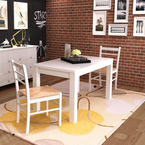 2 pezzi bianco della vernice sedia da pranzo in legno