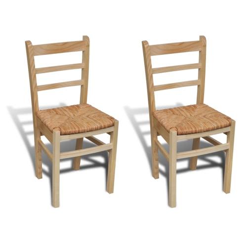 2 pcs Natural Varnish Wooden Dinning Chair
