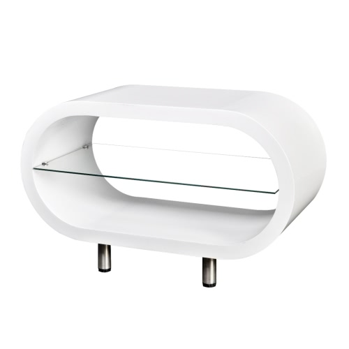 High Gloss White TV Stand Coffee Table Oval