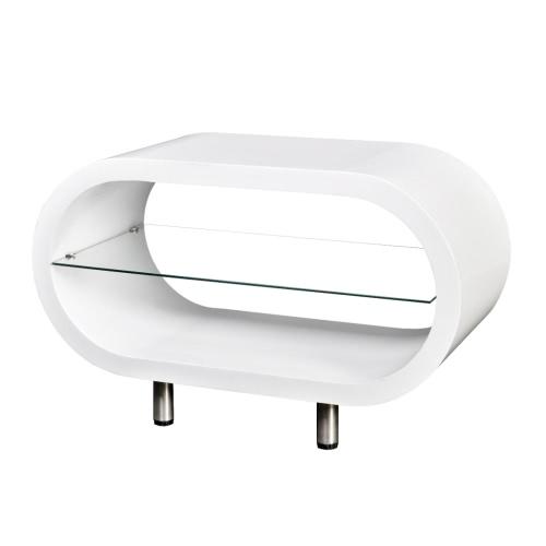 Блестящий Белый Подставка под телевизор журнальный столик Овал
