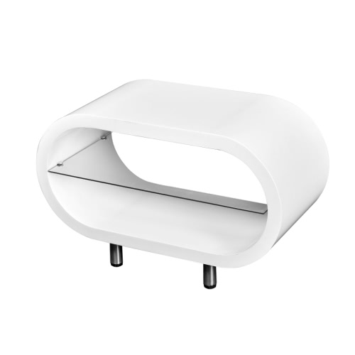 White High Gloss White TV Stand Coffee Table Oval