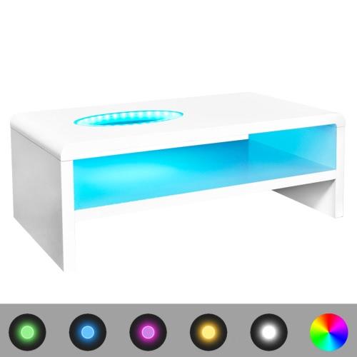LED High Gloss White Coffee Table 42 cm