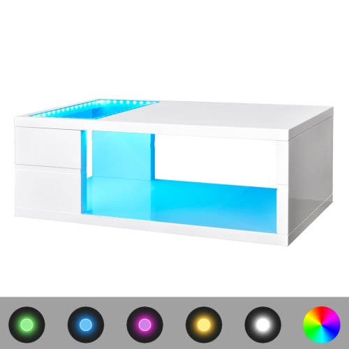 LED High Gloss White Coffee Table 41.5 cm