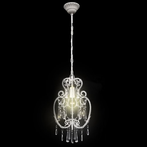 White Metal Pendant Lamp with Crystal Beads