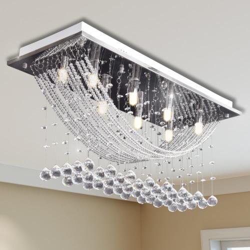 Белый Потолочный светильник с сверкающими Стеклянные бусины хрустальные 8 х G9 29 см