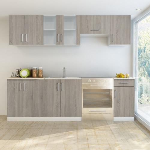 Oak Look Kitchen Cabinet Unit 7 pcs