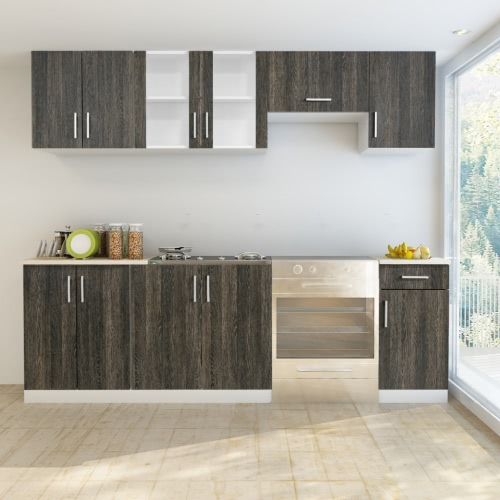 Wenge Look Kitchen Cabinet Unit 7 pcs