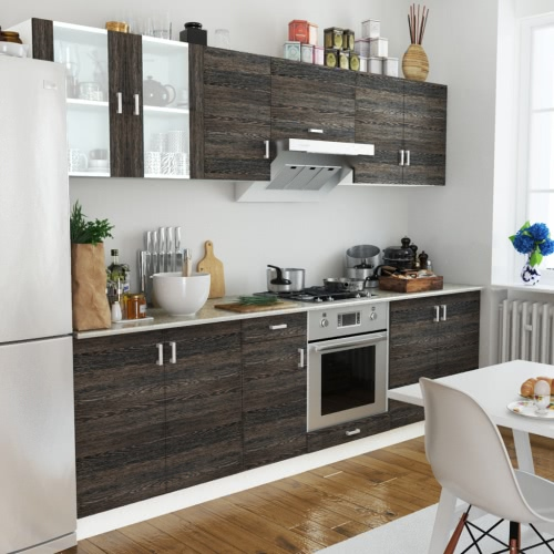 Wenge Look Kitchen Cabinet Unit 8 pcs