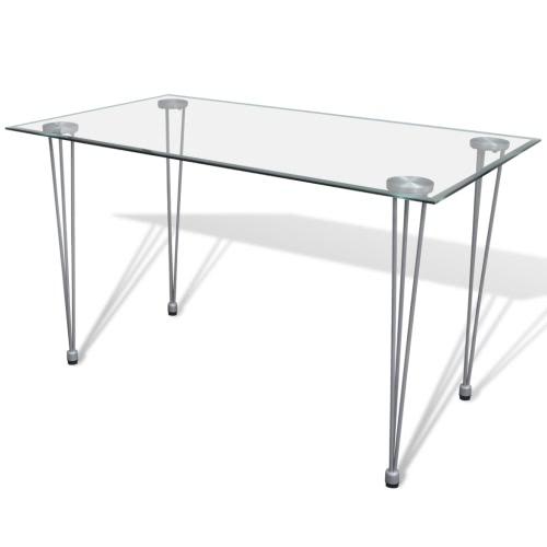 Прозрачный обеденный стол со стеклянной столешницей