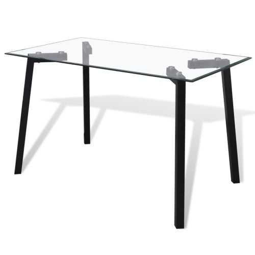 Transparent Glass Top Dining Table with Steel Legs