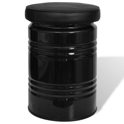 Black Storage Stool Ottoman