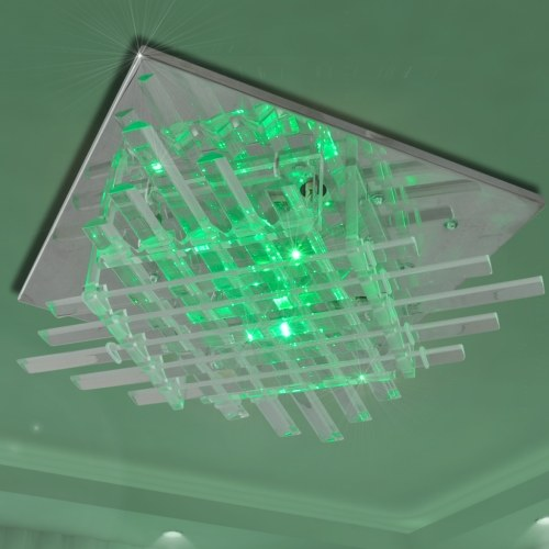 Plafoniera quadrata a LED RGB con strisce di vetro