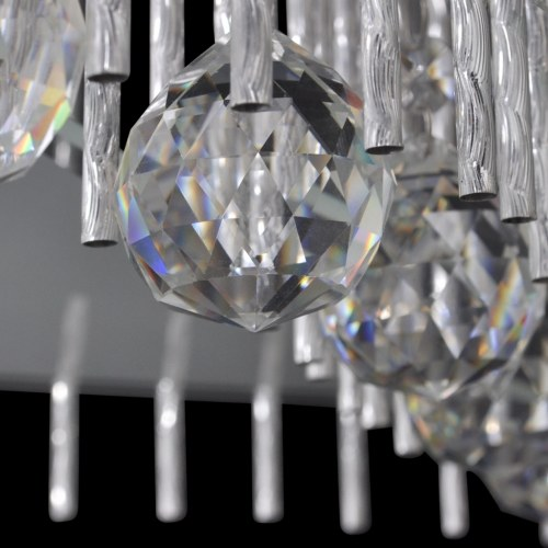 Square Crystal Ceiling Lamp with Aluminium Strips
