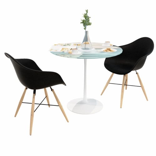 2 pcs Black Dining Chair with Armrests and Beech Wood Legs