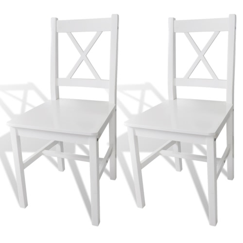 2 pcs White Wood Dinning Chair