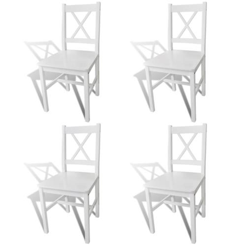 4 piezas de madera blanca del comedor Silla