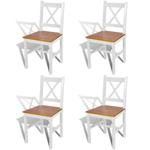 4 PC Color Blanco y Madera de la silla de comedor Natural
