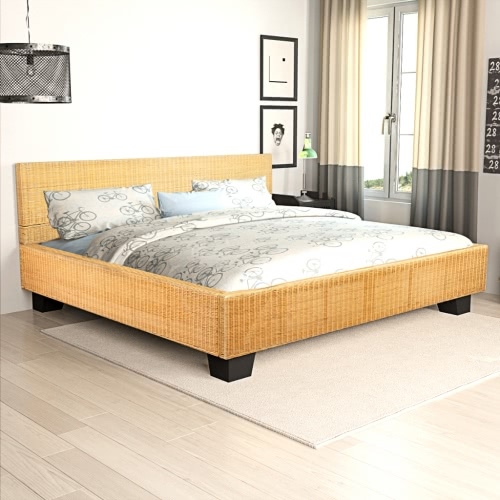 Handwoven Real Natural Rattan Bed 180 x 200 cm