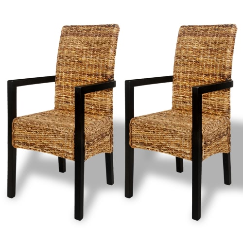 2 pcs Handwoven Abaca Dining Chair Set with Armrest